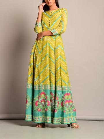 Soothing Leheriya Anarkali Tunic in Green-Blue Combo