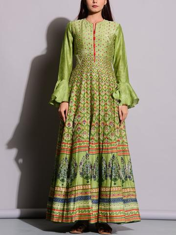 Olive Green Anarkali Tunic with Frilled Sleeves