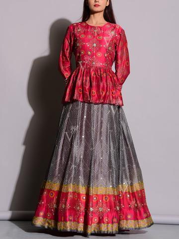 Peplum Anarkali Dress in Red & Grey
