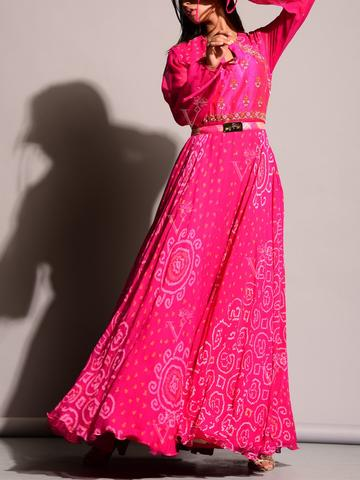 Fresh Looking Bandhej Anarkali Gown with Keyhole Neck
