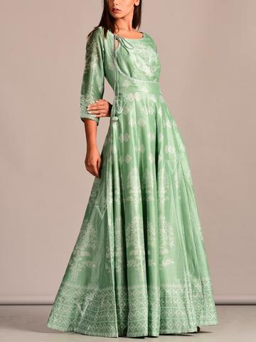 Angrakha Pattern Sage Green Printed Silk Anarkali Suit