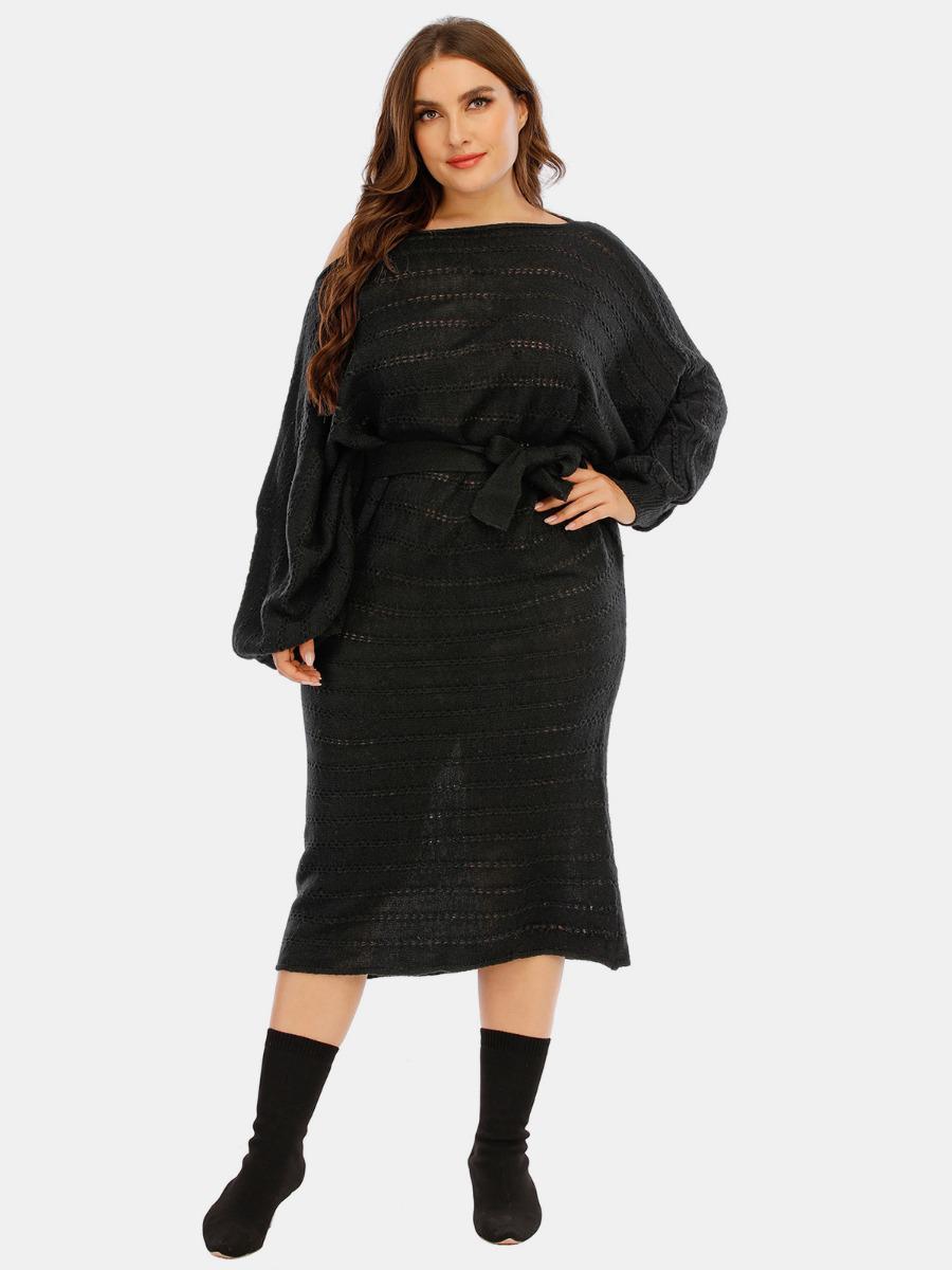 shestar wholesale plus size batwing sleeve self tie cutout knitting dress