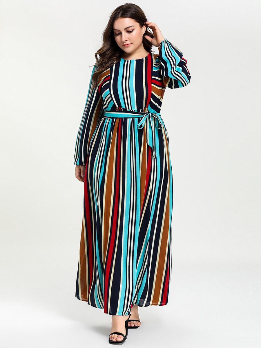 shestar wholesale plus size colorblock tie waist dress