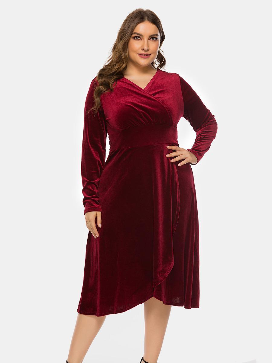 shestar wholesale plus size hi-lo-hem velvet dress