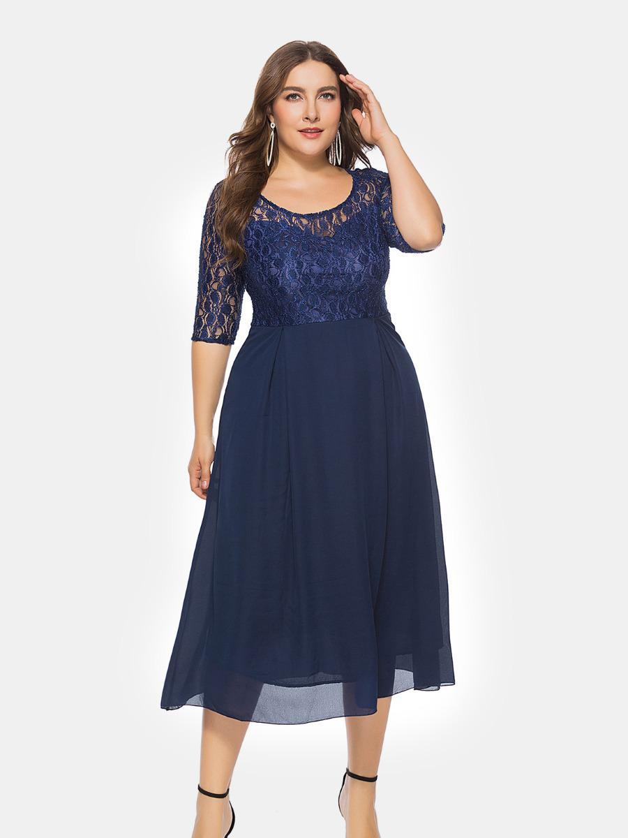 shestar wholesale plus size lace patch evening dress