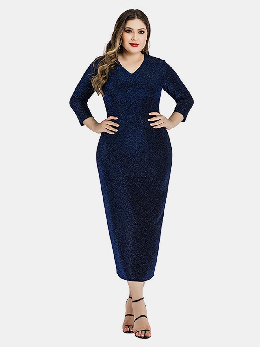 shestar wholesale plus size sequins split back bodycon dress