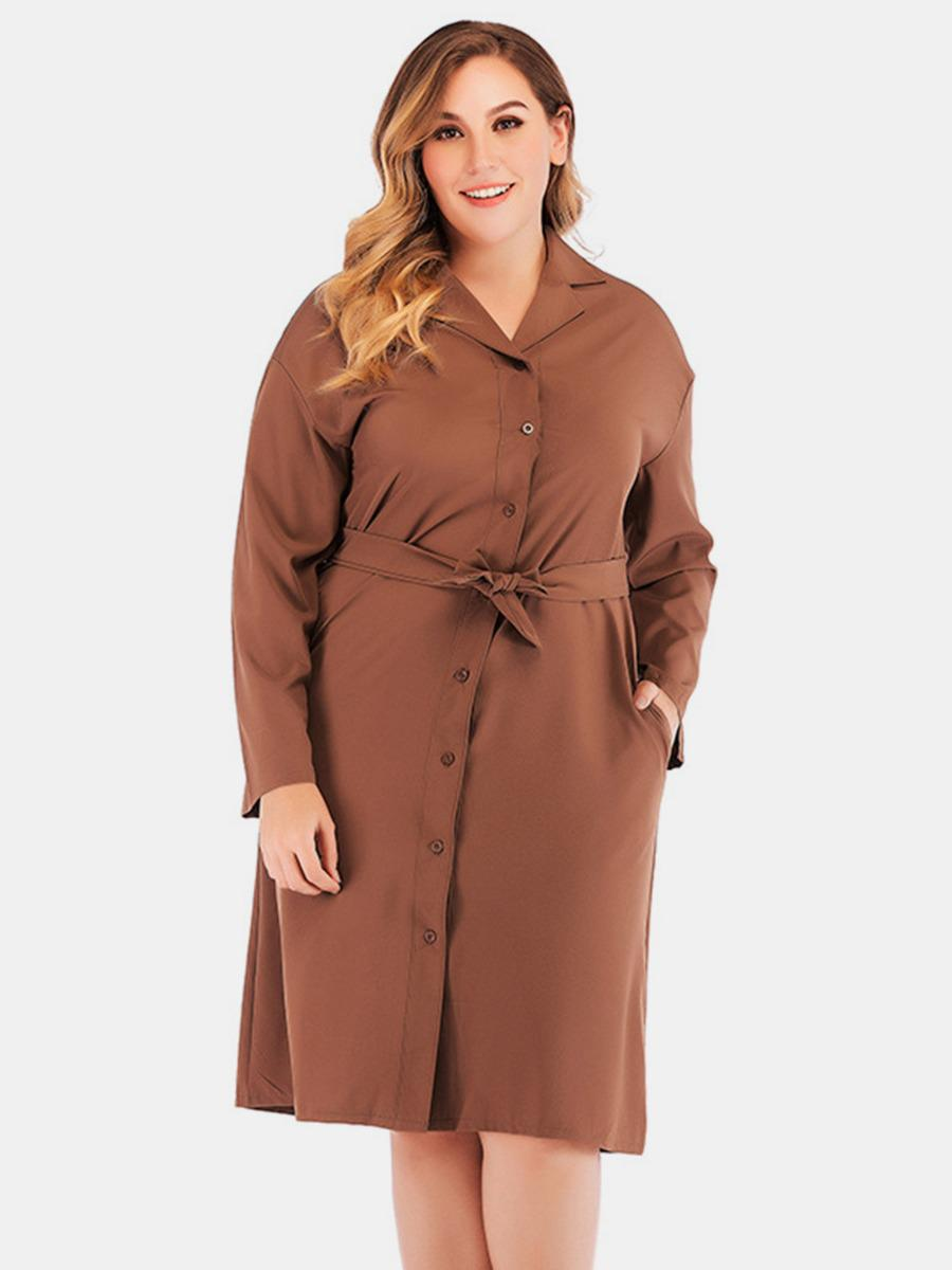 shestar wholesale plus size single breasted belted shirt dress