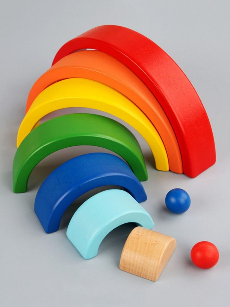 1 PACK WOODEN ARCHED RAINBOW BLOCKS