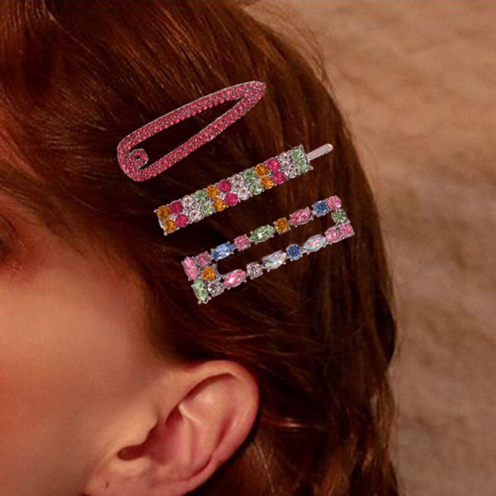 Geometric Colorful Rhinestone Hair Clip Set