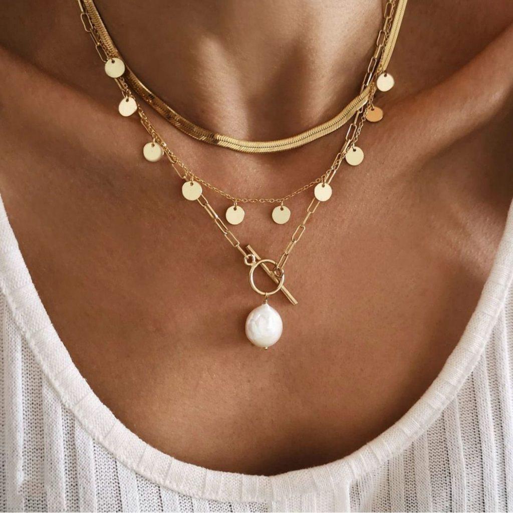 Disc Tassel Pearl OT Buckle Pearl Necklace