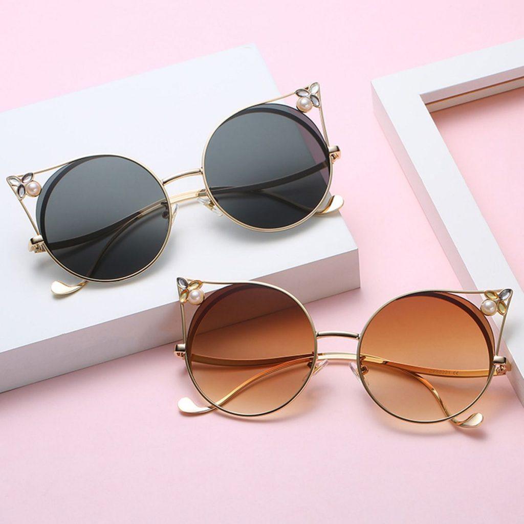 Fashion Cat Eye Pearl Frame Sunglasses