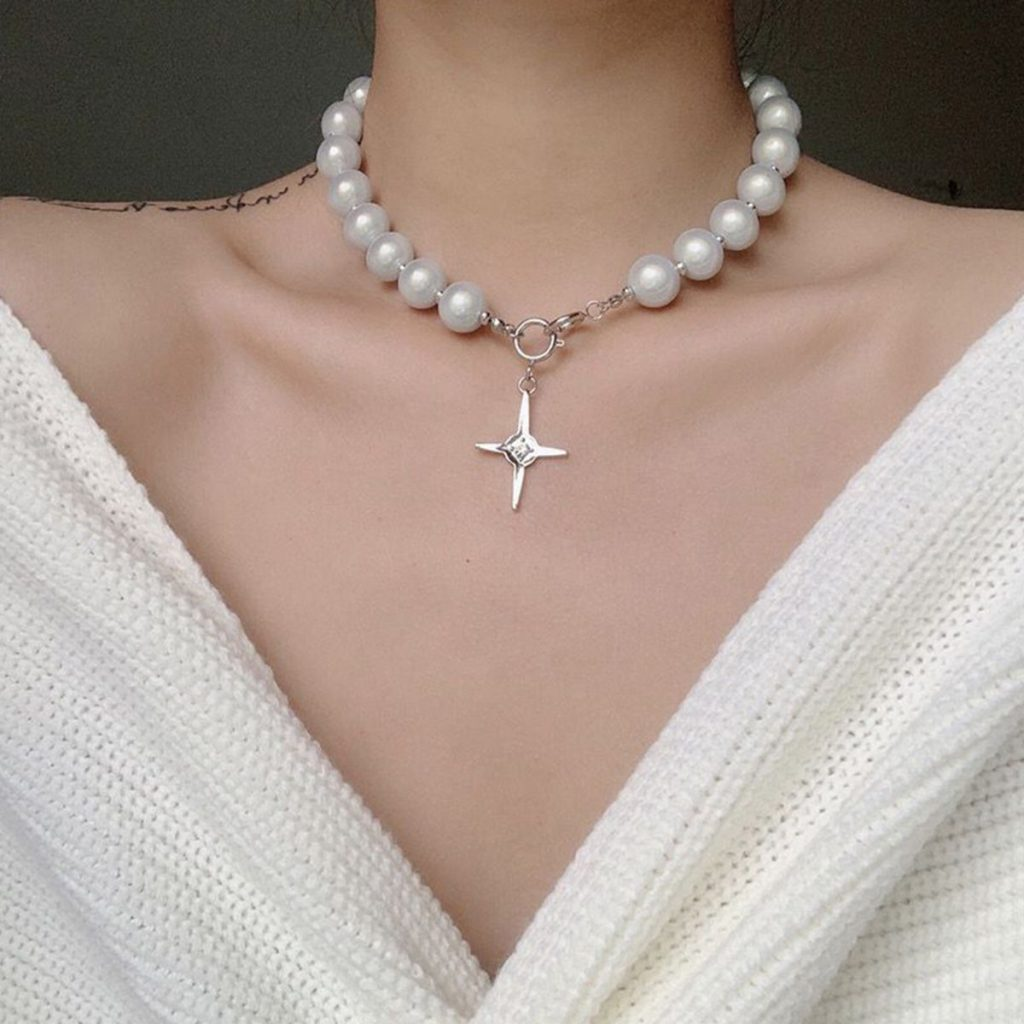 Temperament Cross Pearl String Necklace