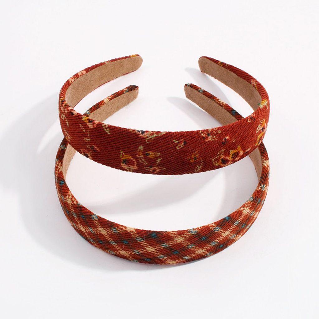 Retro Plaid & Flower Corduroy Headband