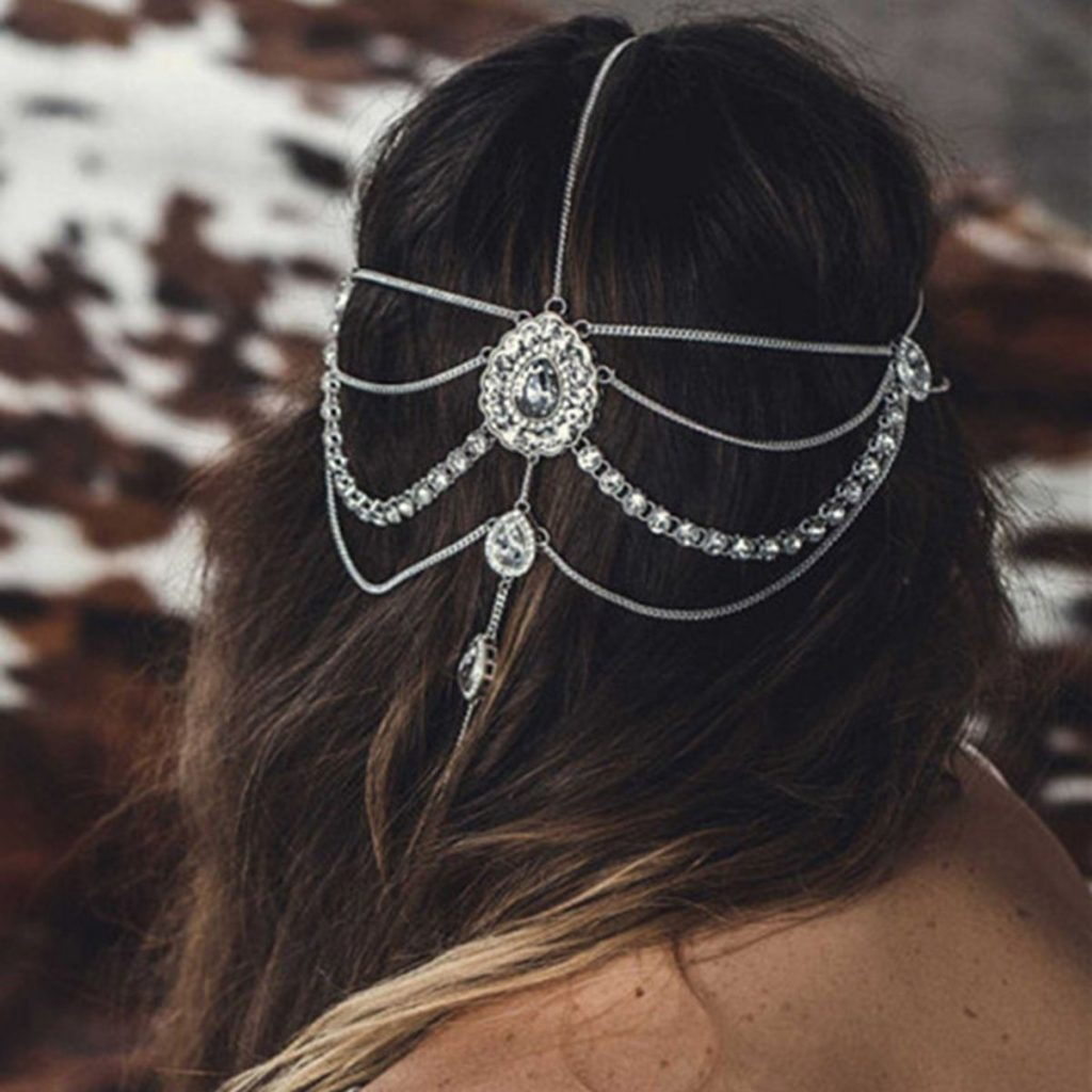 Ethnic Diamond Pendant Hair Chain