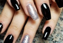 Exclusive Coffin Nails White Silver Grey and Glitter